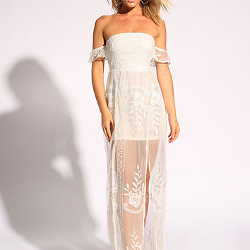White Embroidered Tulle Slit Maxi Dress