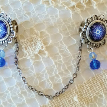 Snowflake Sweater Clips, Filigree and Blue Glass Bead Sweater Clips, Upcycled Accessories, Cobalt Sweater Fasteners, Cardigan Sweater Guards