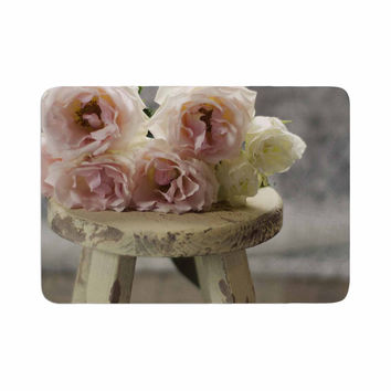 """Cristina Mitchell """"Roses on Stool"""" Floral Photography Memory Foam Bath Mat"""