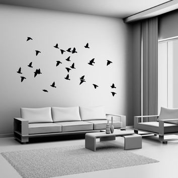 Flock of Birds Wall Decal Vinyl Sticker Dining by HappyWallz