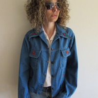 Vintage Light Denim Flower and Bird Embroidered Hippie Boho Western Jacket