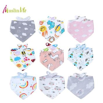 Muslinlife Double Sides Baby Bibs Girls Boys Babador Rainbow Unicorn Print Baby Bandana Bibs Infant Stuff Baby Accessories