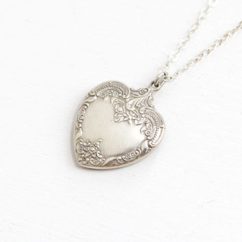 Vintage Sterling Silver Heart Pendant Necklace - Antique Style Floral Repousse Puffy Textured Charm Hallmarked Wallace Jewelry