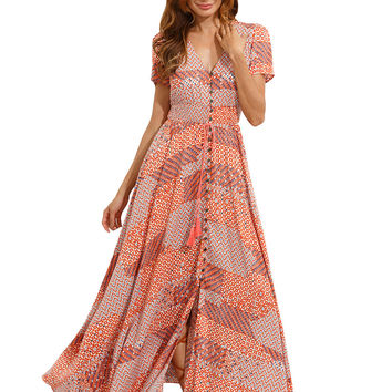 Multicolor V Neck Front Tussel Maxi Dress