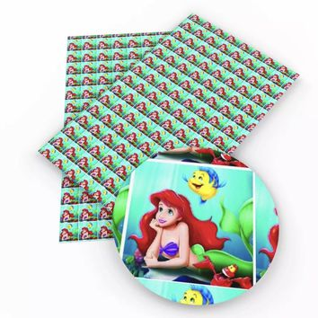 The Little Mermaid Ariel & Flounder faux leather fabric sheet
