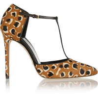 Gucci - Leopard-print calf hair T-bar pumps