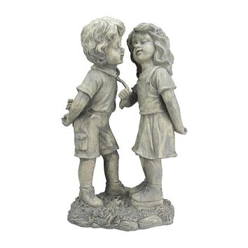 """18.5"""" Weathered Gray Stone Boy & Girl First Kiss Outdoor Patio Garden Statue"""