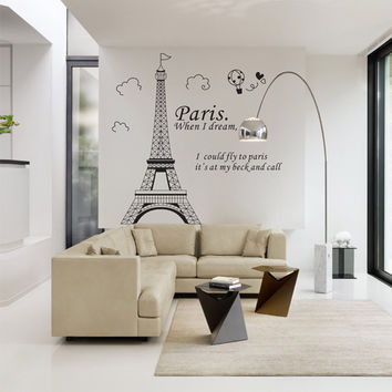 Romantic Paris Eiffel Tower Beautiful View of France DIY Wall Stickers WallpaperArt Decor Mural Room Decal SM6