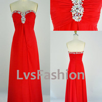 Strapless Sweetheart With Beading Red Long Chiffon Prom Dress Party Dress, Evening Dress, Prom Gown