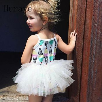Girls Dress  Ice cream Princess Dresses Summer Style Sleeveless Lace Design for Children Clothing