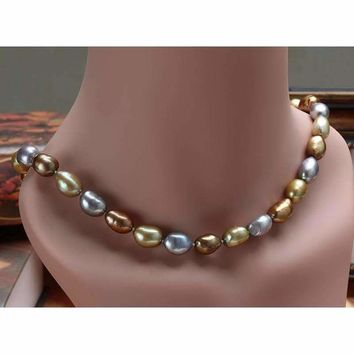 Natural Freshwater Baroque Pearl Necklace (Length: 45-50cm (Multi-color))