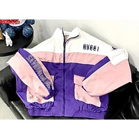 """GUCCI"" Fashion Women Men Stitching Color Zipper Cardigan Sweatshirt Lovers Jacket Coat Windbreaker Sportswear"