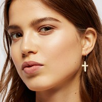 Free People 14k Casa Blanca Cross Hoops