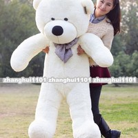 "Big Huge Giant 48"" 1.2M Stuffed Plush Teddy Bear Toy Animal Doll white/bow"