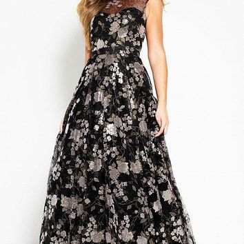 Jovani - 52272 Floral Embroidered A-Line Evening Dress