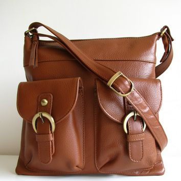 Brown Leather Pocket Messenger Bag | Luulla