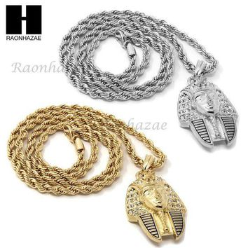 Mens Hip Hop Iced Out Egyptian Pharaoh Pendant 24' Rope Chain Necklace N033