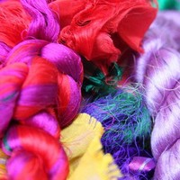 Silk Sari Fiber Waste For Spinning or Felting Bulk Lot 1 Kilo