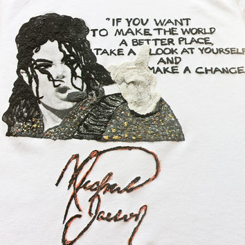 MICHAEL JACKSON Shirt MJ T-shirt M J  Quote Painting 3d  Tshirt T Shirt Tシャツ Tee  Rock Man or Woman