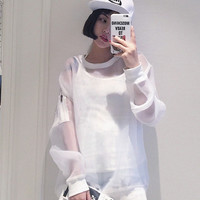 Summer new Korean refreshing perspective sports sweater