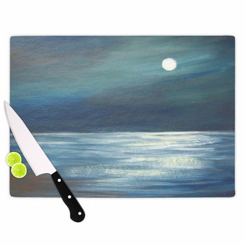 "Cyndi Steen ""A Walk In The Moonlight"" Blue White Cutting Board"