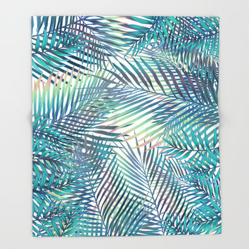 Tropical forest Throw Blanket by printapix