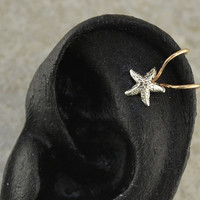 Ear Cuff - Starfish - Cartilage - Sterling Silver and 14K Gold Filled - SINGLE SIDE