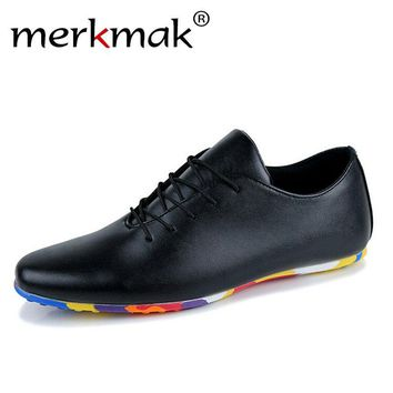 Merkmak 2016 Brand PU leather Men Flats Shoes High Quality Breathable Men Fashion Casual Shoes Breathable Flat Shoes Size 39-44