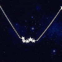 womens simple style silver Stars necklace gift 41