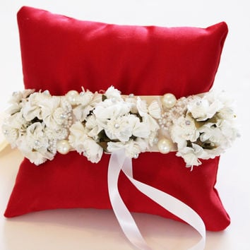 Ivory White Flowers on Red Ring Pillow, Wedding Dog Accessory, Ring Bearer