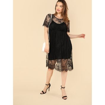 Womens Floral Lace Smock Dress with Cami - Plus Size