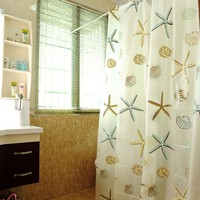 Sea Shell Starfish PEVA Bathroom Waterproof Mildew Proof Shower Curtain/100% PEVA - NOT Made of Cheap PVC Plastic or Vinyl - NO New Shower Curtain Bad Smell - NO Health Concerns - Fashion - Heavy Weight - Best Shower Curtain - Easy Care - Durable (Size: 18