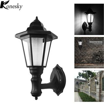 Konesky  2pcs/lot Modern Led Solar Garden Light Outdoor Waterproof Wall Lamp Hexagonal Light Christmas Lights Outdoor lighting