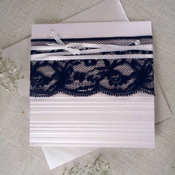 Black Lace Wedding invitation. Rustic Wedding Invitation. Vintage lace Wedding invitation. Handmade Wedding Invitation with lace.