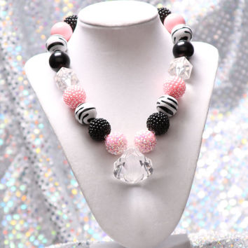 Ballet Pink Gumball Necklace, Spring Chunky Necklace, Easter Necklace, Chunky Bead Necklace, Girls Necklace
