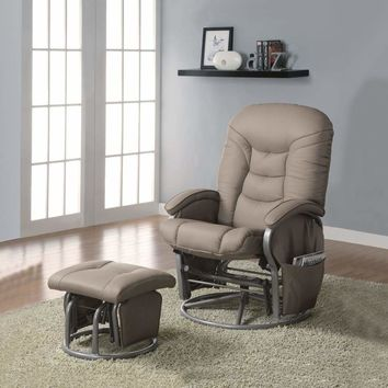 Contemporary Glider Upholstered In Leatherette On Silver Gray Frame, Beige - 600228