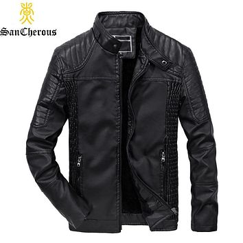 2019 Men Fur Liner Leather Jacket Winter Outerwear Motorcycle Men Thick Windproof Warm Fashion Coat