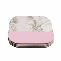 "Suzanne Carter ""Marble And Pink Block"" Modern Contemporary Coasters (Set of 4)"