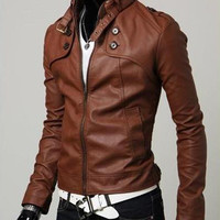 Leather Stand Collar Zipper Jacket