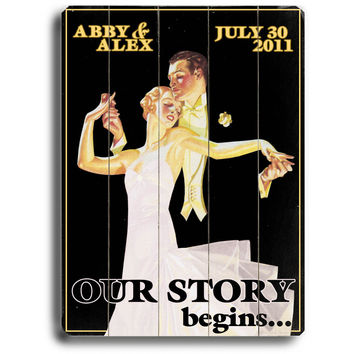 Personalized Wedding Our Story Begins Wood Sign by Artist Kate Ward