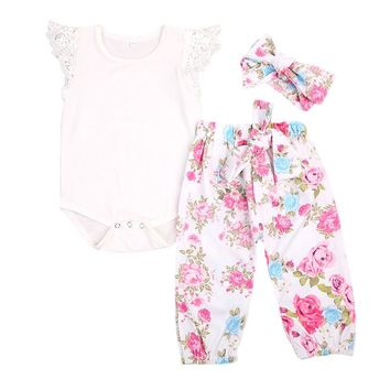 Floral Newborn Baby Girls Clothes Set Top Bodysuits Lace Sleeve Long Pants Headband Outfit Girl Costume Children 3PCS Set
