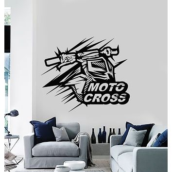 Vinyl Wall Decal Motocross Motorcycle Speed Extreme Sport Stickers Mural (g545)