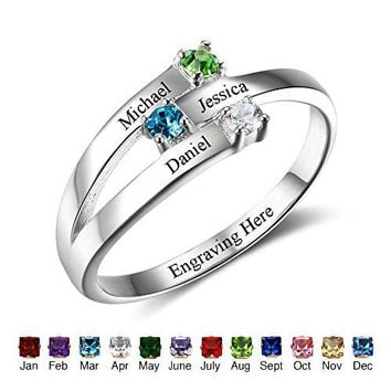 Family Jewelry Personalized Engrave Names Engagement Mother Rings with Simulated Birthstone for Her (7)