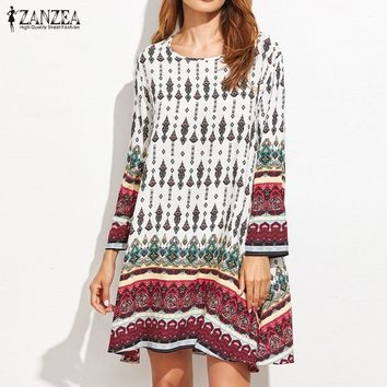 ZANZEA Womens Summer Crew Neck Long Sleeve Vintage Floral Loose Casual Party Mini Dress Beach Vestido Sundress Plus Size