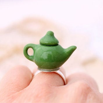 Miniature teapot ring, miniature food ring, Alice in Wonderland ring, Kawaii food ring
