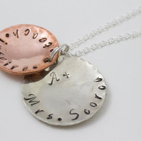 Teach, Inspire, A+ Teacher, Personalized Silver and Copper Teacher Thank You Necklace, Appreciation Jewelry