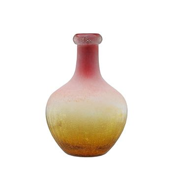 "12.25"" Amber Yellow Crackled and Coral Frosted Hand Blown Glass Vase"