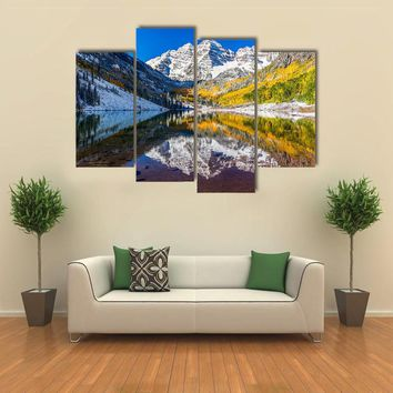 Fall Foliage At Maroon Bells Multi Panel Canvas Wall Art