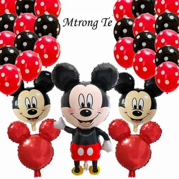 29pcs 110*62cm Minnie Mickey mouse head foil balloons birthday party Cartoon 2.8g Polka Dot Latex Balloon decoration kids toy