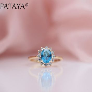 PATAYA New Arrivals Oval Blue Natural Zirconia Rings Women 585 Rose Gold Wedding Party Fashion Simple Exquisite Mosaic Jewelry